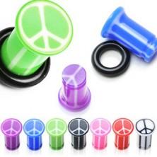Plug do ucha UV ze znakiem pokoju, marmurowy, z gumką