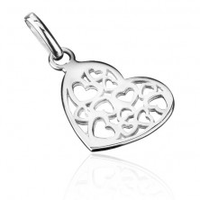 Srebrny wisiorek 925 - małe ażurowe serce