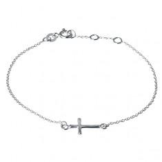 Srebrna bransoletka 925 na rękę - błyszczący, zaokrąglony krzyżyk