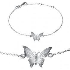 Bransoletka ze srebra 925 - wygrawerowany motylek na łańcuszku