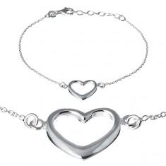 Srebrna bransoletka 925 - szerokie serce na łańcuszku