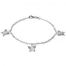 Srebrna bransoletka - grawerowane motyle na łańcuszku, srebro 925