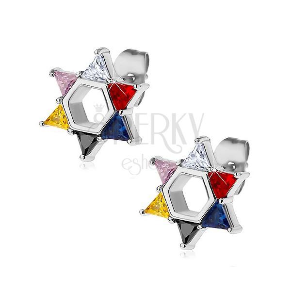 Stalowe kolczyki, gwiazda Dawida z kolorowych cyrkonii