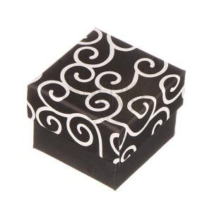 Pudełko na pierścionek - czarne z białym ornamentem