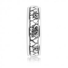 Srebrny pierścień 925 - dwa rzędy odwróconych serduszek z patyną