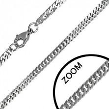 Stalowy łańcuszek - ukośne ścięte owale, splot pancerka
