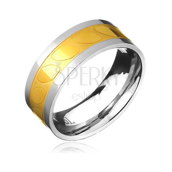 Obrączka ze stali - złoto-srebrna, motyw ukośne owale