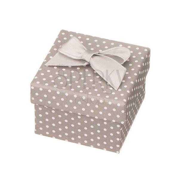 Ozdobne siwe pudełeczko na biżuterię - białe kropki z kokardką