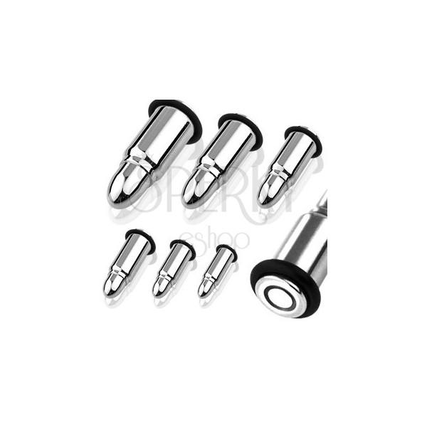 Plug do ucha ze stali w kształcie naboju z dwiema gumkami