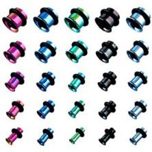 Piersing - tunel do ucha z tytanu, anodyzowany, różne kolory, z gumką