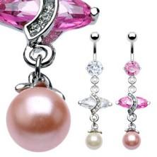Luksusowy kolczyk do brzucha z dużą owalną cyrkonią i perłą