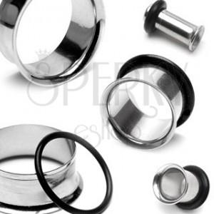 Piercing do ucha - tunel ze stali nierdzewnej siodłowy z gumką