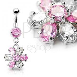 Luksusowy kolczyk do brzucha kwiat - różowo-przezroczyste cyrkonie