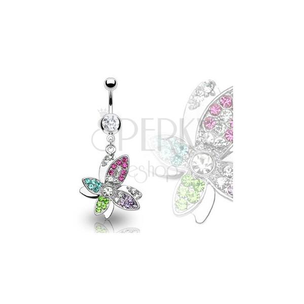 Luksusowy ze stali 316L kolczyk do brzucha piękny kolorowy kwiat wyłożony cyrkoniami