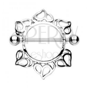 Piercing sutka, wzór serca - 2 sztuki