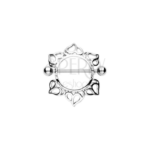 Piercing do sutka - sztanga z kuleczkami, kwiat z rzeźbionymi płatkami, 2 sztuki