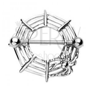Piercing sutka - pajęcza sieć z pająkiem, 2 sztuki