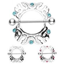 Piercing sutka - ornamenty z cyrkonią, 2 sztuki