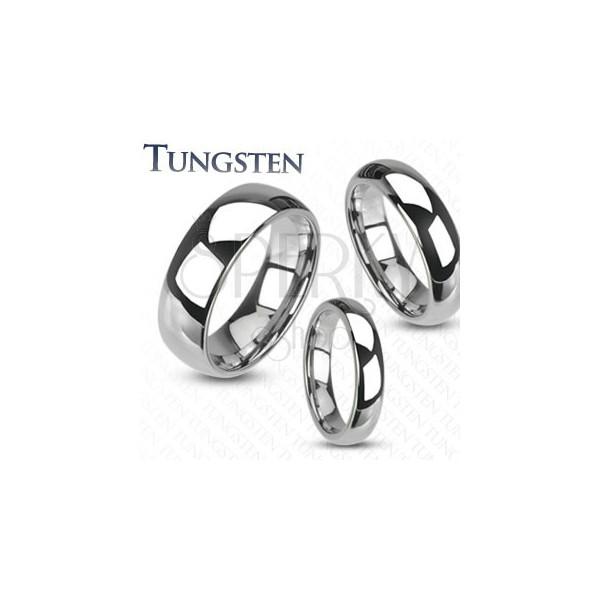 Wolframowy pierścień - gładka lśniąca obrączka srebrnego koloru