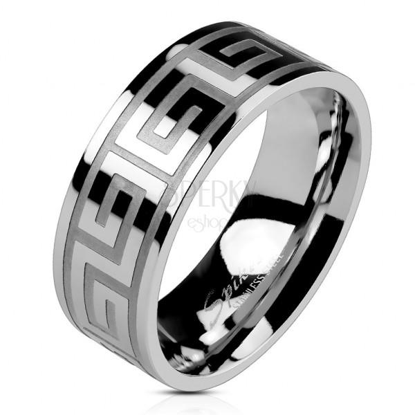 Obrączka ze stali srebrnego koloru, lśniąca powierzchnia, klucz grecki, 8 mm