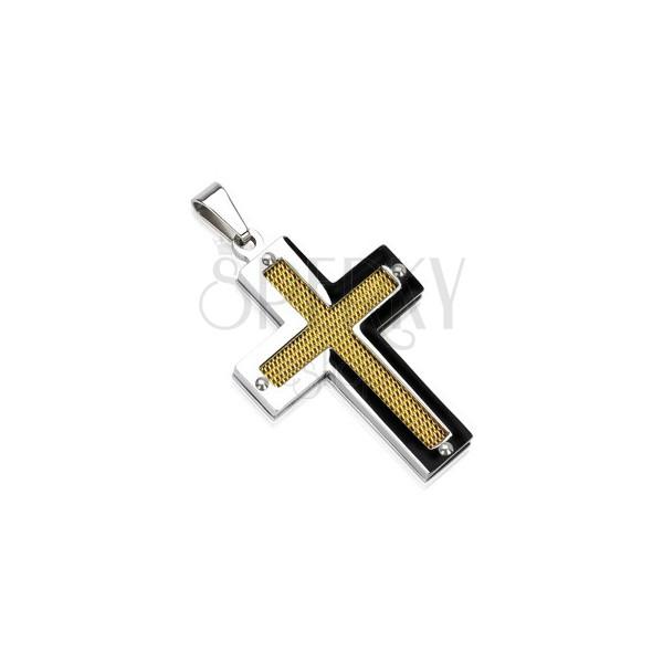 Stalowy krzyż ze złotą siecią z nitkami