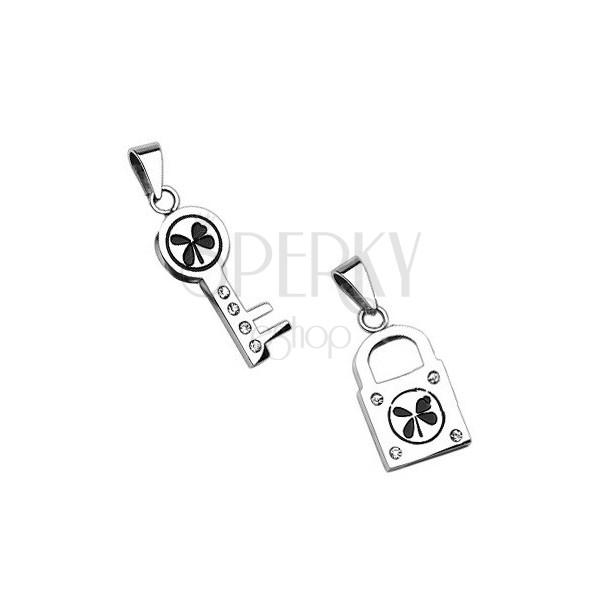 Srebrne zawieszki - klucz i kłódka z koniczynką