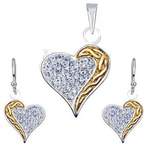 Zestaw kolczyki i zawieszka ze srebra 925 - cyrkonie, złoty pas, serce