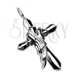 Skrzydło anioła na krzyżu - stalowa zawieszka