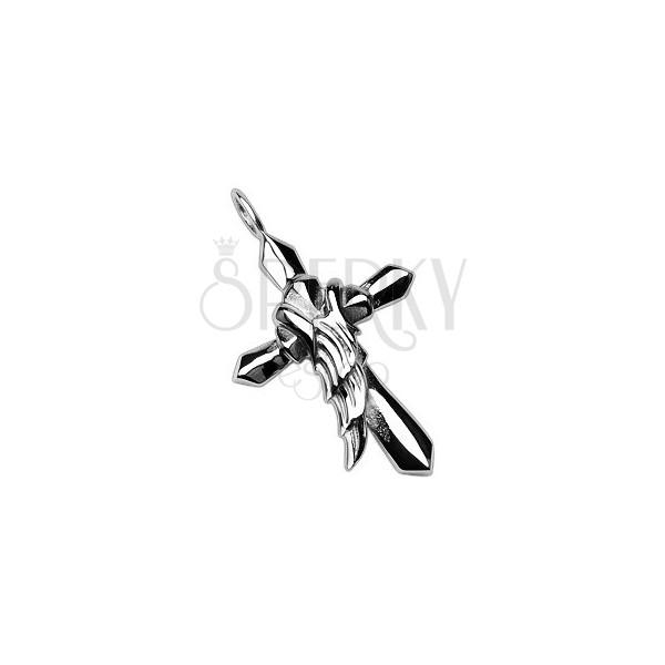 Stalowa zawieszka w kolorze srebrnym - krzyż z anielskim skrzydłem