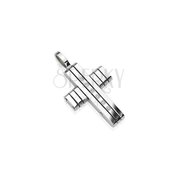 Zawieszka ze stali chirurgicznej - krzyż z pasem cyrkonii