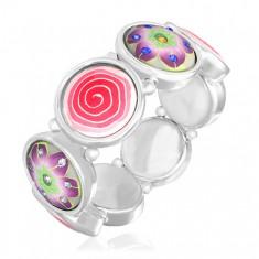 Bransoletka FIMO - kolorowy motyw spirali i kwiatów z cyrkoniami