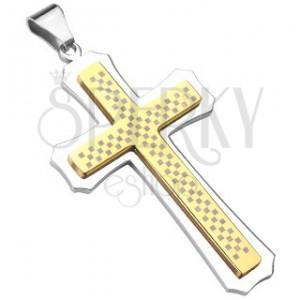 Masywny srebrno-złoty krzyż z szachownicą