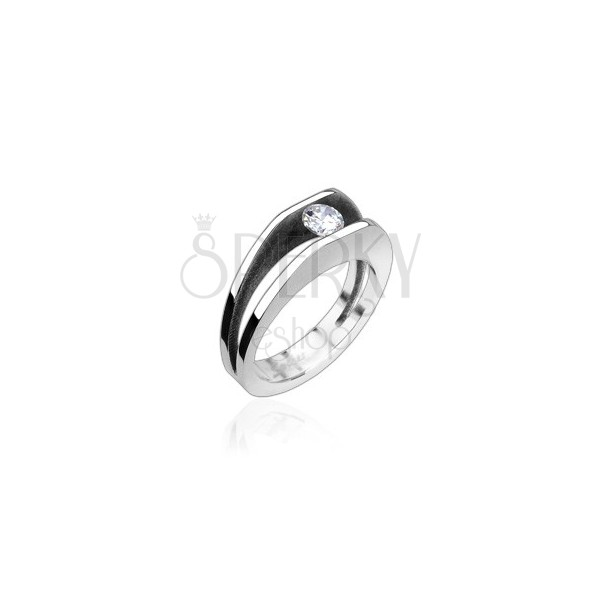 Stalowy pierścień z 5 mm cyrkonią