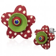 Kolczyki FIMO - czerwono-zielona rozgwiazda w kropki, cyrkonia