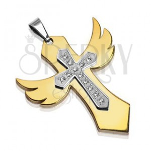 Stalowa zawieszka złote skrzydła z krzyżem i cyrkoniami