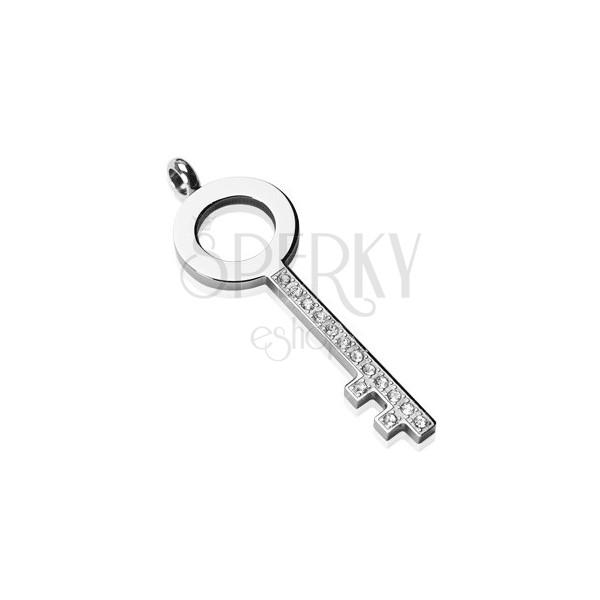 Stalowa zawieszka - prosty klucz z cyrkoniami