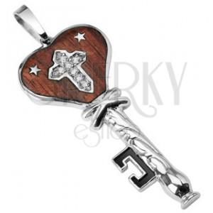 Stalowa zawieszka drewniany klucz z gwiazdeczkami