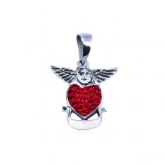 Srebrna zawieszka - anioł nad czerwonym sercem ze wstęgą