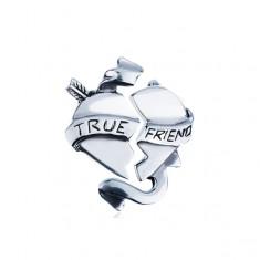 """Podwójna srebrna zawieszka - przełamane serce ze wstążką """"TRUE FRIEND"""""""
