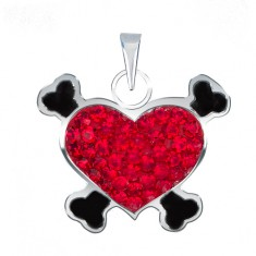 Zawieszka ze srebra 925 - czerwone serce pirackie z cyrkoniami