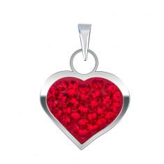 Błyszcząca srebrna zawieszka - gładkie regularne serce, cyrkonie