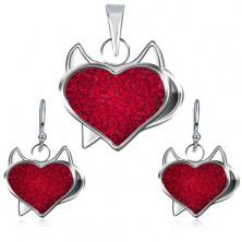 Srebrny zestaw 925 zawieszka i kolczyki - czerwone cyrkoniowe serce, diabełek