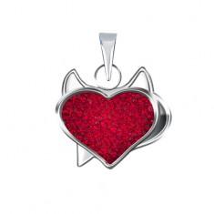 Zawieszka ze srebra 925 - czerwone serce pirackie i cyrkonie