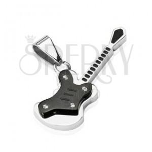 Zawieszka ze stali - czarna mała gitara