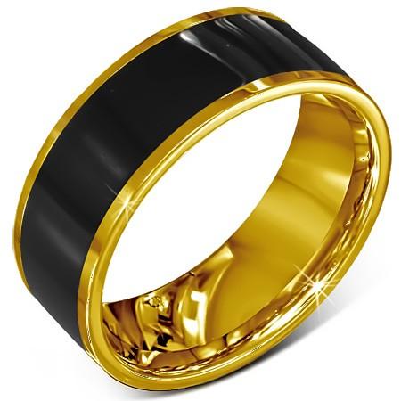 Pierścionek ze stali chirurgicznej - gładka czarna obrączka złote oblamowanie - Rozmiar : 60
