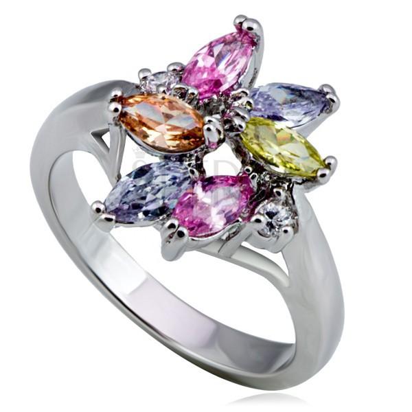 Błyszczący stalowy pierścionek kwiat, kolorowa łza i okrągłe cyrkonie