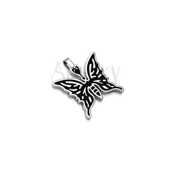 Zawieszka ze stali chirurgicznej - motyl z czarnym rysunkiem