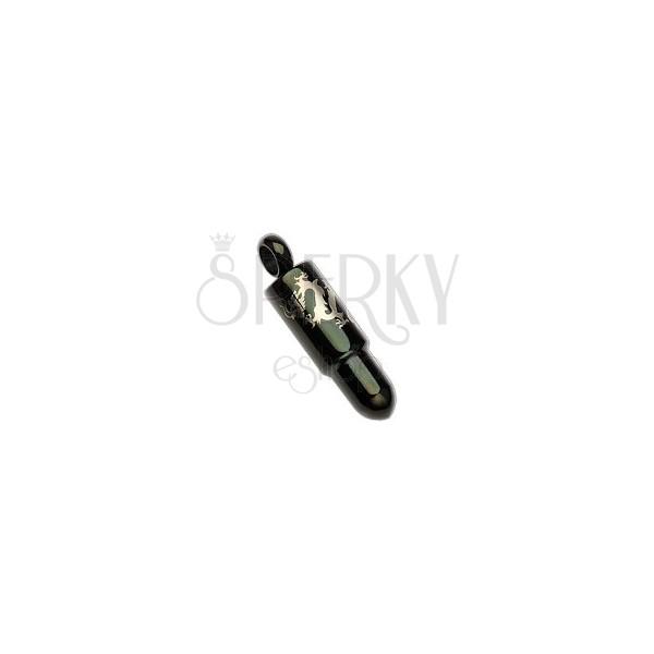 Stalowa zawieszka - czarny nabój z motywem smoka w srebrnym odcieniu