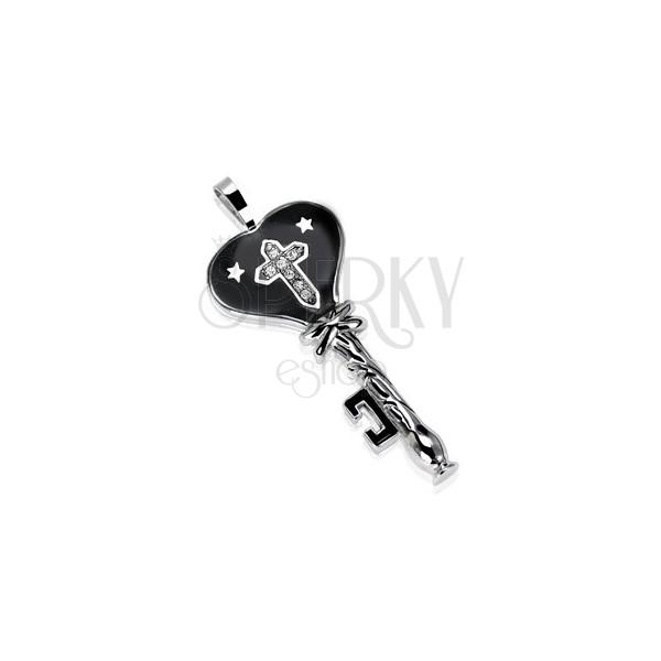 Stalowa zawieszka czarny klucz z gwiazdkami