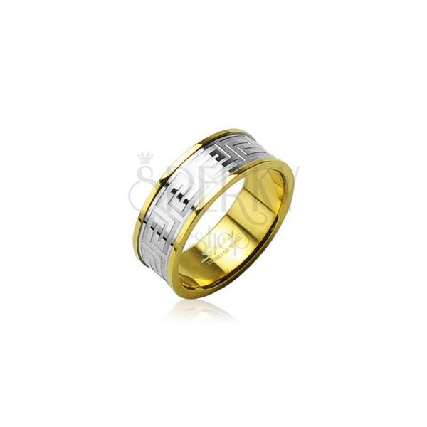 Obrączka ze stali chirurgicznej złotego koloru z środkowym pasem srebrnego koloru